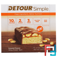 Whey Protein Bars, Caramel Peanut, Detour, Simple, 9 Bars, 1.1 oz (30 g) Each