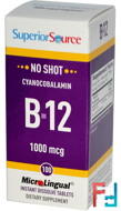 Cyanocobalamin B-12, 1000 mcg, Superior Source, 100 MicroLingual Instant Dissolve Tablets