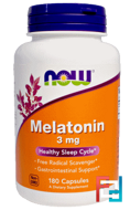 Melatonin, Now Foods, 3 mg, 180 Capsules