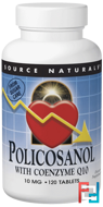Policosanol, with Coenzyme Q10, Source Naturals, 10 mg, 120 Tablets