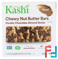 Chewy Nut Butter Bars, Double Chocolate Almond Butter, Kashi, 5 Chewy Bars, 1.23 oz (35 g) Each