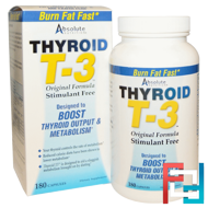 Thyroid T-3, Original Formula, Absolute Nutrition, 180 Capsules
