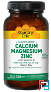 Target-Mins, Calcium Magnesium Zinc, Country Life, 180 Tablets