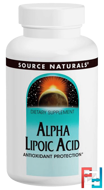 Alpha Lipoic Acid, 300 mg, Source Naturals, 60 Capsules