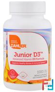 Junior D3, Advanced Vitamin D3 Formula, Orange, Zahler, 1,000 IU, 120 Chewable Tablets