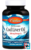 Cod Liver Oil, Carlson Labs, 390 mg, 250 Soft Gels