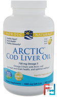 Arctic Cod Liver Oil, Lemon, Nordic Naturals, 1000 mg, 180 Soft Gels