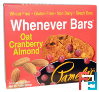 Whenever Bars, Oat Cranberry Almond, Pamela's Products, 5 Bars, 1.41 oz (40 g) Each