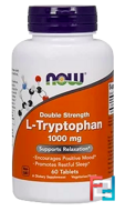 L-Tryptophan, Double Strength, Now Foods, 1000 mg, 60 Tablets