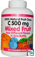 C 500 mg, Mixed Fruit, Natural Factors, 180 Chewable Wafers