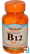 B-12, High Potency, 500 mcg, Sundown Naturals, 200 Tablets