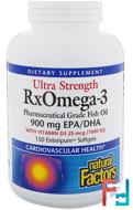 Ultra Strength, RxOmega-3, with Vitamin D3, 900 mg EPA/DHA, Natural Factors, 150 Enteripure Softgels