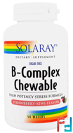 B-Complex Chewable, Strawberry-Kiwi Flavor, Sugar-Free, Solaray, 50 Wafers