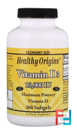 Vitamin D3, Healthy Origins, 10000 IU, 360 Softgels
