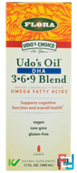 Udo's Choice, Udo's Oil DHA 3·6·9 Blend, Flora, 17 fl oz (500 ml)