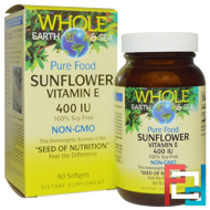 Whole Earth & Sea, Sunflower Vitamin E, 400 IU, Natural Factors, 90 Softgels