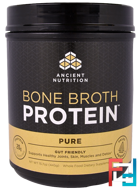 Bone Broth Protein, Pure, Dr. Axe / Ancient Nutrition, 15.7 oz, 445 g