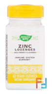 Zinc Lozenges, Nature's Way, Wild Berry Flavor, 23 mg, 60 Lozenges