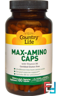 Max-Amino Caps, with Vitamin B-6, Country Life, 180 Veggie capsules