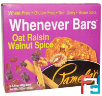 Whenever Bars, Oat Raisin Walnut Spice, Pamela's Products, 5 Bars, 1.41 oz (40 g) Each