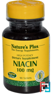 Niacin, Nature's Plus, 100 mg, 90 Tablets