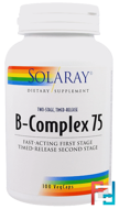 B-Complex 75, Two Stage, Timed-Release, Solaray, 100 Veggie Caps