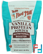 Vanilla Protein Powder, Nutritional Booster with Chia & Probiotics, Bob's Red Mill, 16 oz (453 g)