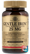 Gentle Iron, Solgar, 25 mg, 180 Vegetable Capsules