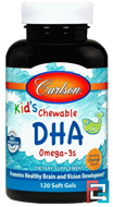 Kids Chewable DHA, Bursting Orange Flavor, Carlson Labs, 120 Soft Gels