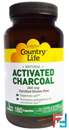 Activated Charcoal, Country Life, 260 mg, 180 Capsules