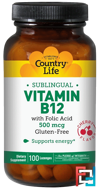 Vitamin B12, Sublingual, Cherry Flavor, Country Life, 500 mcg, 100 Lozenges