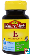 Vitamin E, Nature Made, 400 IU, 100 Liquid Softgels
