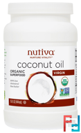 Organic Coconut Oil, Virgin, Nutiva, 15 fl oz (444 ml)