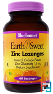 Zinc Lozenges, EarthSweet, Bluebonnet Nutrition, Natural Orange Flavor, 15 mg, 60 Lozenges