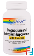 Magnesium and Potassium Asporotates, Solaray, 120 Veggie Caps