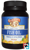 Fresh Catch, Fish Oil Supplement, Omega-3 EPA/DHA, Orange Flavor, Barlean's, 100 Softgels
