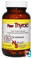 Raw Thyroid, Natural Sources, 60 Capsules