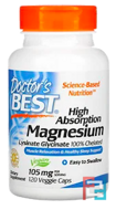 High Absorption Magnesium, Lysinate Glycinate 100% Chelated, Doctor's Best, 105 mg, 120 Veggie Caps