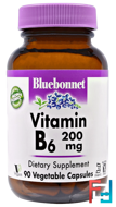 Vitamin B-6, 200 mg, Bluebonnet Nutrition, 90 Veggie Caps