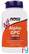 Alpha GPC, 300 mg, Now Foods, 60 Veg Capsules