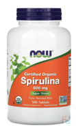 Certified Organic Spirulina, Now Foods, 500 mg, 500 Tablets