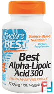 Best Alpha-Lipoic Acid, 300 mg, Doctor's Best, 180 Veggie Caps