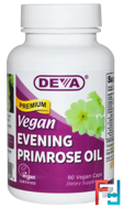 Premium Evening Primrose Oil, Vegan, Deva, 90 Vegan Caps
