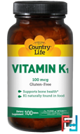 Vitamin K1, Country Life, 100 mcg, 100 Tablets