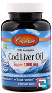 Cod Liver Oil Gems, Carlson Labs, 1000 mg, 100 Soft Gels