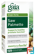 Saw Palmetto, Gaia Herbs, 60 Vegetarian Liquid Phyto-Caps