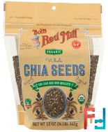 Oragnic Whole Chia Seeds, Bob's Red Mill, 12 oz, 340 g