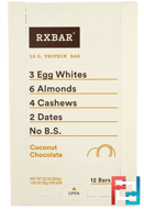 Protein Bars, Coconut Chocolate, RXBAR, 12 Bars, 1.83 oz (52 g) Each