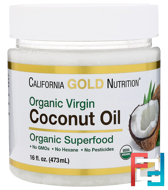 Organic Virgin Coconut Oil, Superfood, Cold Pressed, Unrefined, California Gold Nutrition, 16 fl oz, 473 ml
