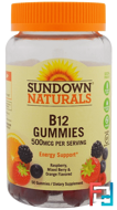 B12, 500 mcg, Raspberry, Mixed Berry & Orange, Sundown Naturals, 50 Gummies